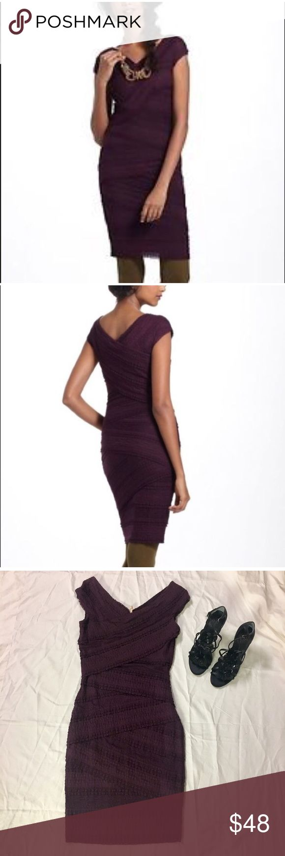 BAILEY 44 {Anthro} Lace Column Dress BAILEY 44 (ANTHROPOLOGIE)- Stunning plum-colored tiered lace bodycon dress with v-neck and cap sleeves. Lined, super soft material. Size Small. Excellent preowned condition; just a few tiny snags due to material. This comfy, sexy dress is perfect for cocktails, dinner, or a night out. Necklace sold separately. Open to offers. Anthropologie Dresses