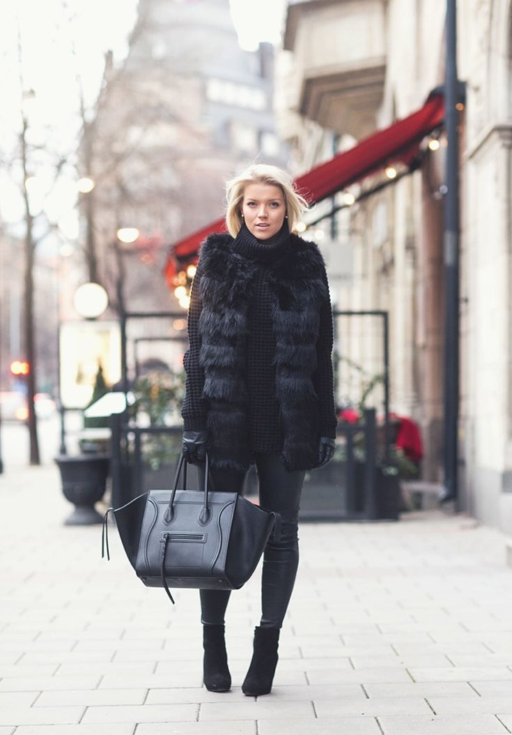 All in black furry look // P.S. I love fashion by Linda Juhola