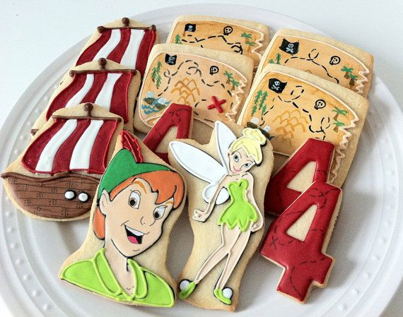 Peter Pan Themed Decorated Cookies, Tinkerbell, Pirate Ship, Map, and Birthday Number, great party favors