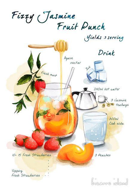 ~ bizarre island ~: Bubbly Refreshing Summer | Jasmine Tea Fruit Punch Recipe