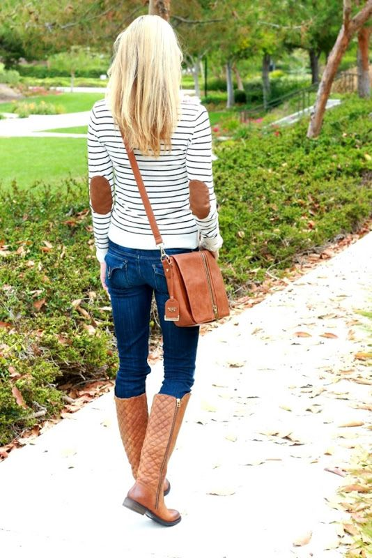 Fall outfit idea - love the elbow patches on this striped shirt.