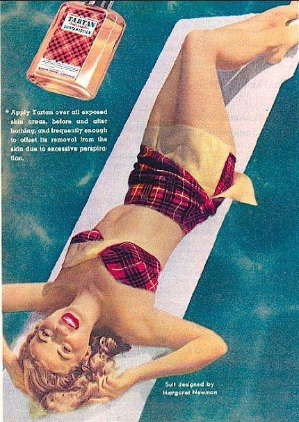 1949 ad for Tartan Suntan Lotion (with tartan bathing suit)