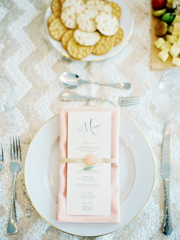 Paper Cut-Out Flower + Narrow Gold Ribbon for Place Setting -- a simple detail that won't go unnoticed! See more of the wedding on SMP:  http://www.StyleMePretty.com/2014/02/20/williamsburg-virginia-wedding/ Laura Gorden Photography
