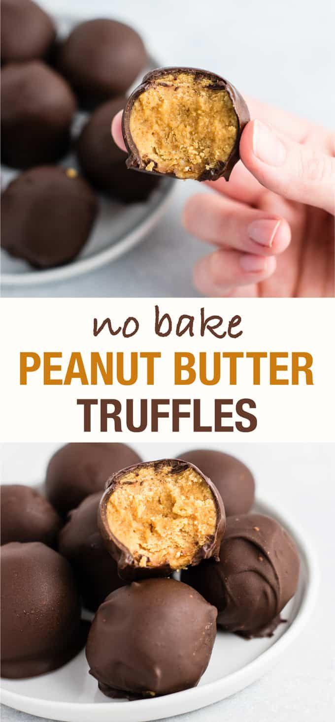 healthy no bake peanut butter truffles (gluten fre…