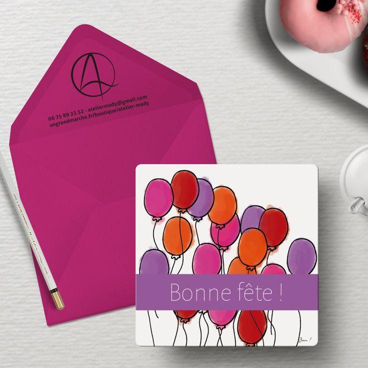 """Carte postale """"Ballons en fête"""" illustrée de ballons rose, violet, orange et rouge et du message """"bonne fête"""""""