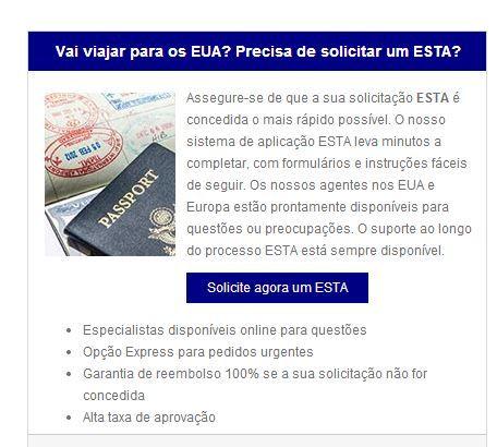 http://www.esta.pt/ Assegure-se de que a sua solicitação ESTA é concedida o mais rápido possível. O nosso sistema de aplicação ESTA leva minutos a completar, com formulários e instruções fáceis de seguir.