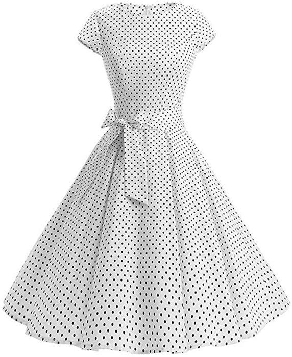 ed034de99b950 Pevor Women's 1950s Vintage Boatneck Cap Sleeve Polka Dot Rockabilly Prom Swing  Dresses with Belt White S at Amazon Women's Clothing store: