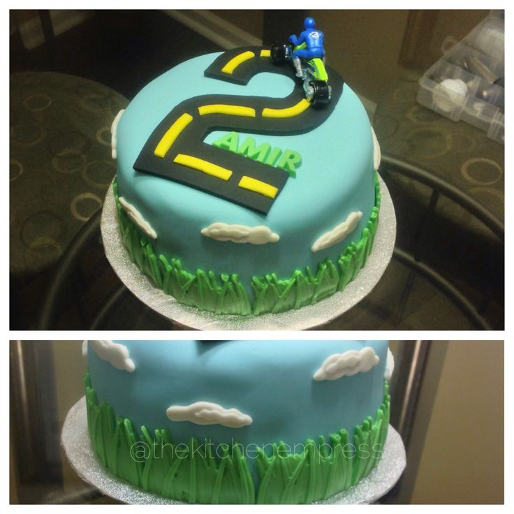 Motorcycle birthday cake for two year old boy. Www.thekitchenempress.com