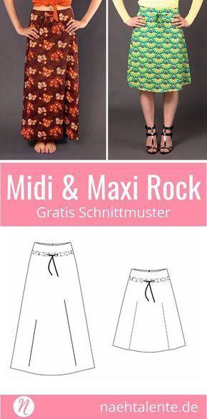Rock in A-Linie in Midi & Maxi-Länge | nähen | Pinterest | Sewing ...