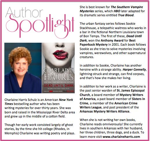 Check out this week's #AuthorSpotlight: #CharlaineHarris #NewYorkTimes best selling author #mysteries