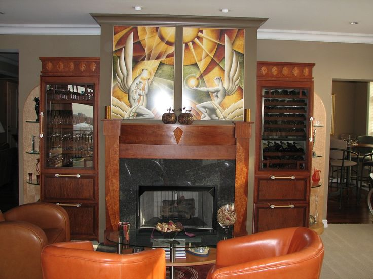 Superior Art Deco Fireplace And Club Chairs