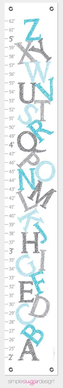 Makes a great Christmas gift! Canvas Growth Chart - Blue Alphabet | A treasured keepsake that is easy to clean and easy to store, just roll it up and pass it on to the next generation| From $39 (Can be personalized)