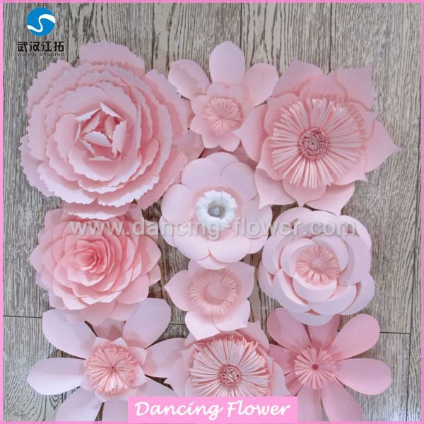 pink romance paper flower wall for wedding or shoping mall decoration