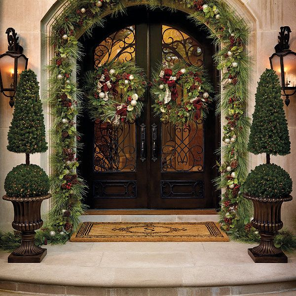 shop our selection of superior outdoor christmas decor and greenery from frontgate find the perfect outdoor christmas trees and wreaths for your holiday - Traditional Outdoor Christmas Decorations