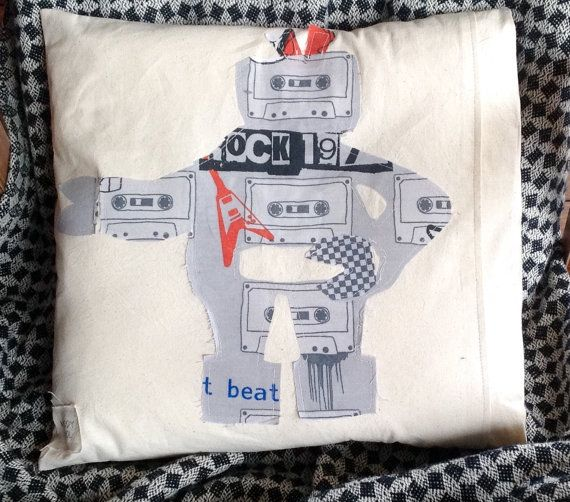 Rocker Robot calico cotton cushion cover by MuddyKoolDesigns