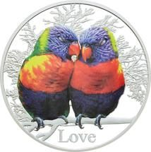 2015 Rainbow Lorikeets 'Love' Tokelau coin in pure silver from Treasures of Oz
