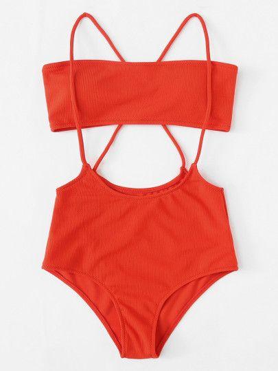 8d7d2f5781c Plus Crisscross Strap Detail Ribbed Bandeau Bikini Set -SheIn(Sheinside)