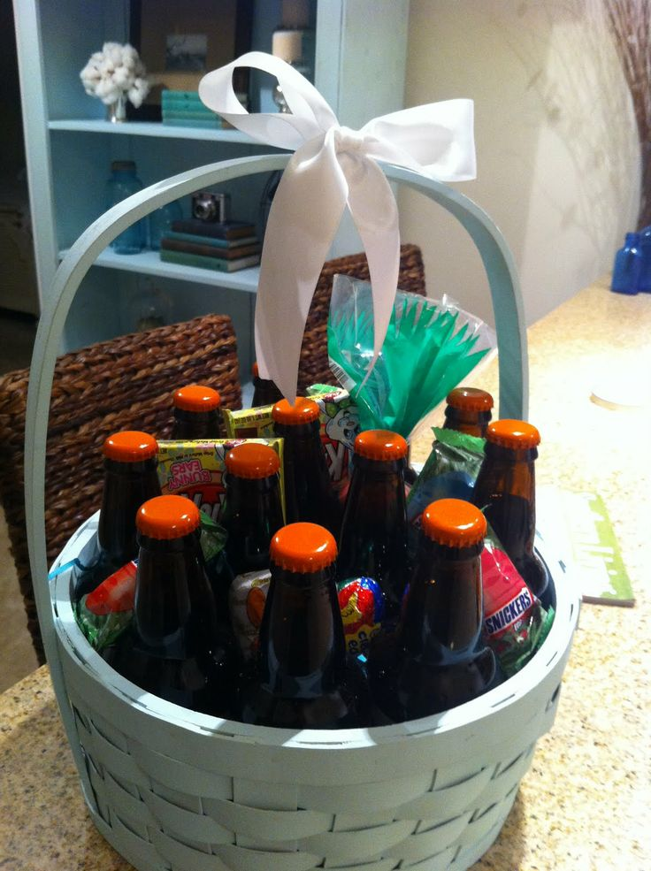 Manly Easter Basket; Manly Easter Basket; cute!!; but for patrick fill with bottles of stella artois, cereal bars, gum, starbucks or bigbees gift card, jar of white nacho cheese with bow tie around the neck & paint the basket lambda colors or put letters on it