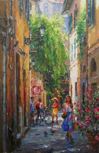"Artist Barbara Jaśkiewicz - Street in Pisa, palette knife oil on linen, size 20""x13""."