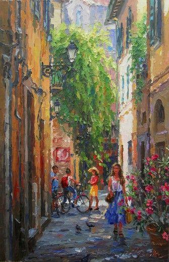 """Artist Barbara Jaśkiewicz - Street in Pisa, palette knife oil on linen, size 20""""x13""""."""