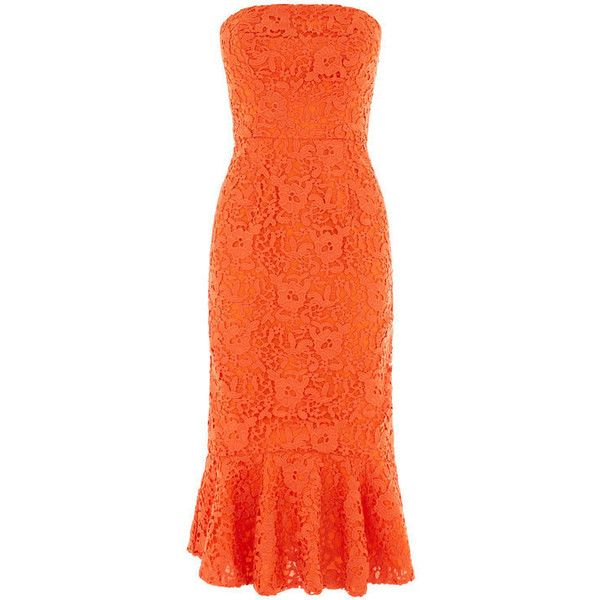 Warehouse Warehouse Strapless Premium Lace Dress Size 6 ($200) ❤ liked on Polyvore featuring dresses, orange, holiday dresses, strapless lace cocktail dress, lace cocktail dresses, special occasion dresses and strapless dresses