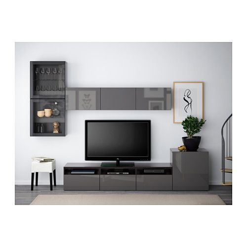 BESTÅ TV storage combination/glass doors - black-brown/Selsviken high-gloss/gray clear glass, drawer runner, soft-closing - IKEA