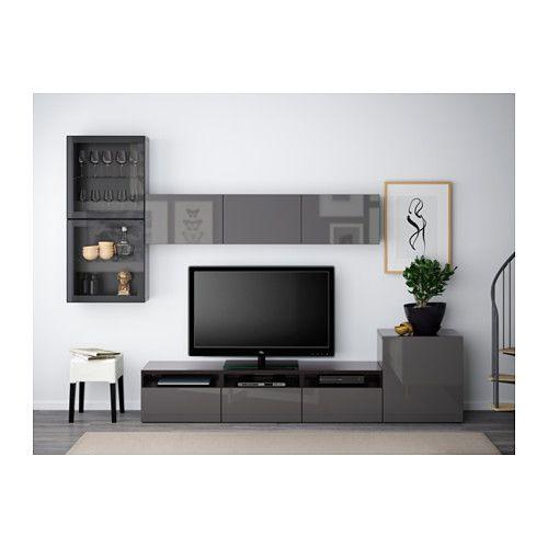 BESTÅ TV storage combination/glass doors - black-brown/Selsviken high-gloss/gray clear glass, drawer runner, soft-closing - IKEA