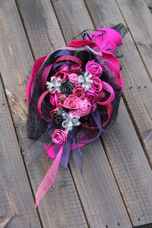 Fuchsia, silver and black flax flower hand tied bouquet by Aritflax