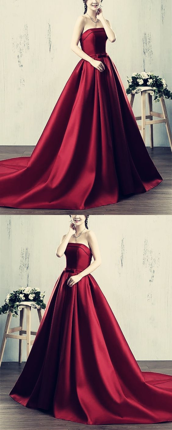 Sexy long satin strapless ball gowns prom dresses in