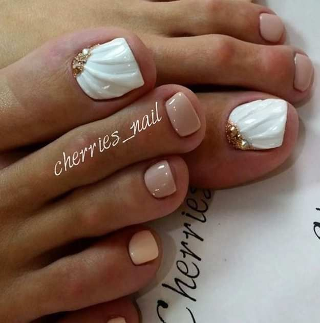 3D Wedding Gown Pedi | 17 Cute Toe Nail Designs You'll Gush About For Days