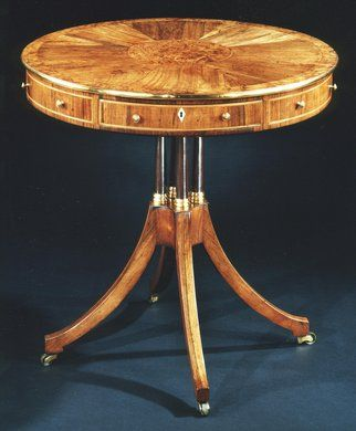 A Rare Regency Period Rosewood Yew Wood Drum Table Circa 1800