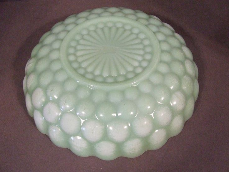 VINTAGE ANCHOR HOCKING FIRE KING JADITE LOW BUBBLE BOWL