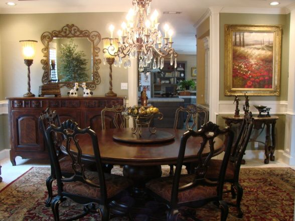 Green Tuscan Dining Room Large Round Table With Very Comfortable Roomy Seats Decorative Hand