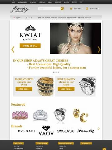 OpenCart Theme Template Compatible OpenCart 1.5.6 version     For desktop, planshet, mobile     Choice of 3.6 Million Colors     Modern Technology HTML5 CSS3 Bootstrap     28 Content Selector  Template properties:  Opencart Responsive Mega Color Template oc000064 is specially designed for Jewelry`s Shop