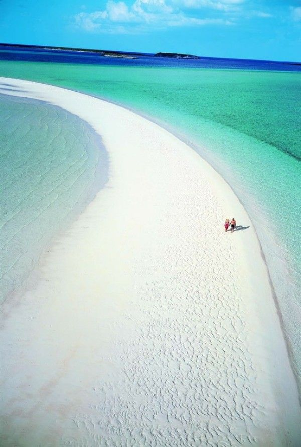 Musha Cay, Bahamas. Yeah, I'd say this is a great place for a long walk on the beach.