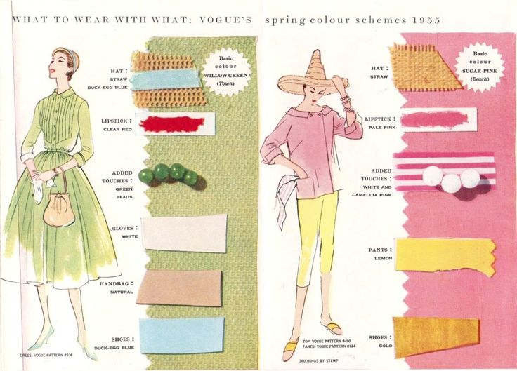 Tuppence Ha'penny: {Style Inspiration} Vogue's Spring Colour Schemes 1955