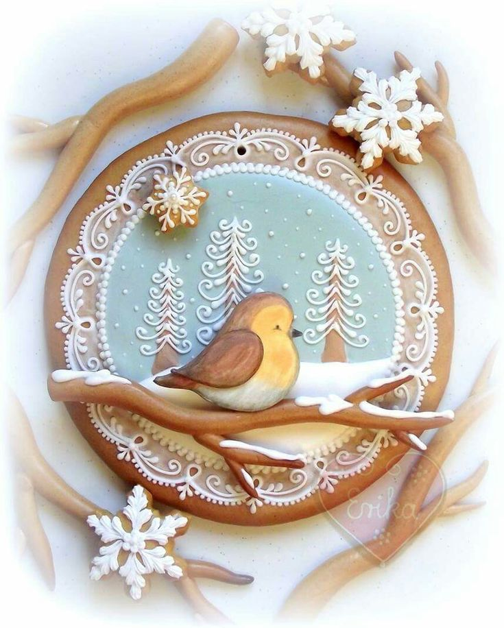 Winter bird on branch, snowflakes, winter trees, lace