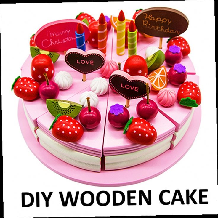 49.18$  Buy now - http://alisal.worldwells.pw/go.php?t=32618688604 - Children wooden birthday cake toys  cut fruit  strawberry  birthday cake baby kitchen toys brinquedo menina