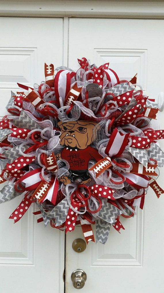 Mississippi State Football Wreath-Mississippi State Bulldog Wreath-Hail State…