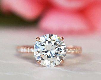 3.25 ctw ronde accentués Solitaire bague de fiançailles, demi anneau de l'éternité, l'homme fait diamant simulé, en argent massif, plaqué or Rose