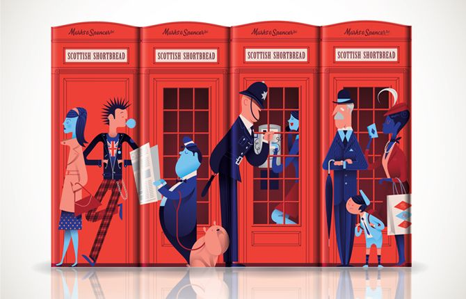 Shortbread tins created for UK retailer Marks & Spencer by California husband and wife illustrators Sarah Labieniec and Ryan Meis (aka Lab Partners).