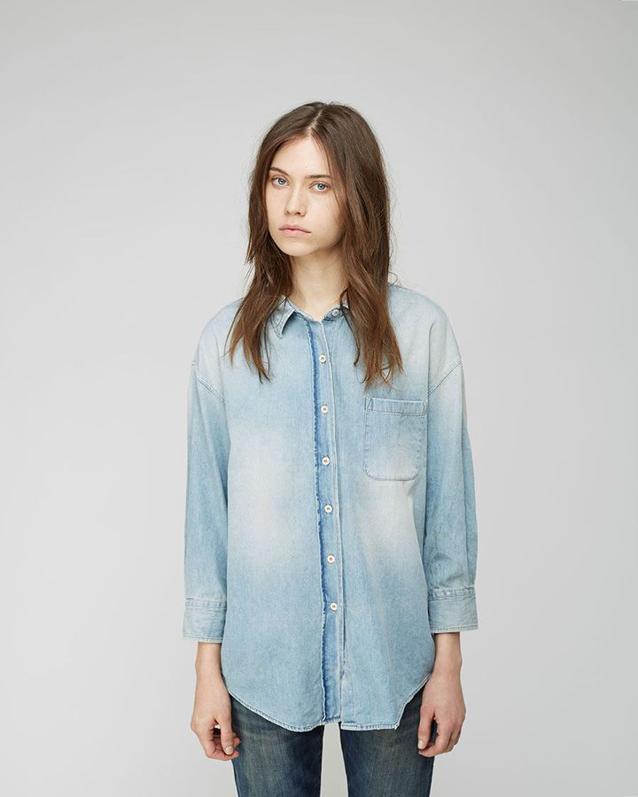 $425, Light Blue Denim Shirt: R 13 R13 Oversized Denim Shirt. Sold by La Garçonne. Click for more info: https://lookastic.com/women/shop_items/129007/redirect