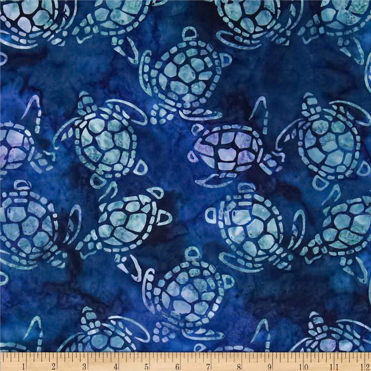 Michael Miller Batik Sea Turtles Blue Canvas Fabric
