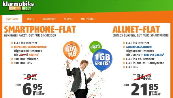 klarmobil.de: Allnet Flat mit 1,75 GB für 21,85 Euro | PrepaidRadar