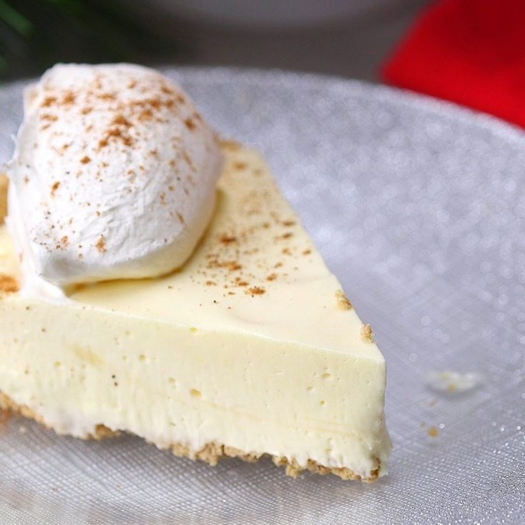 Eggnog Pie Making this creamy, melt-in-your mouth pie is a piece of cake!