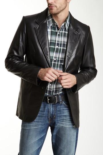 AG Rule Black Leather Blazer