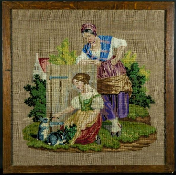 1830s Berlin Woolwork Tapestry in Oak Frame