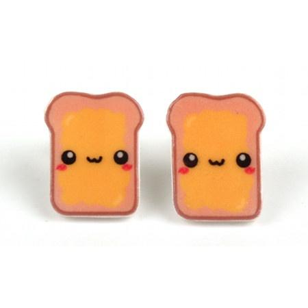 Kawaii Buttered Toast Earrings