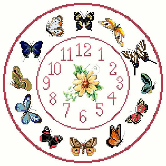 Butterfly+Cross+stitch+Clock+Chart+/+Pattern+by+IpeksGemBoxUK