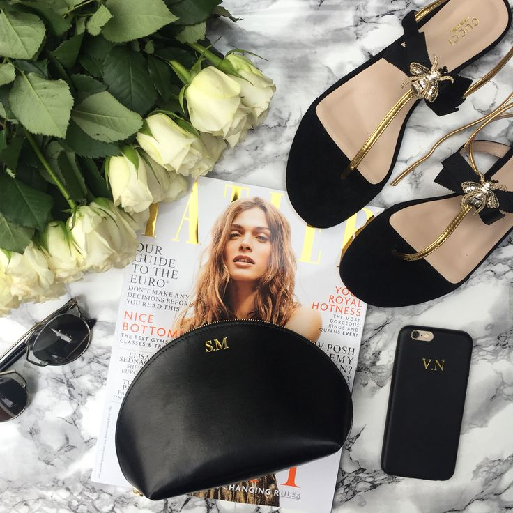 Black, Gold & Tatler :: HA personalised make up bag & leather embossed phone case
